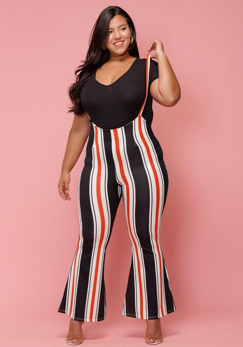 Asoph Plus Size Multi-Color Stripe Suspense Flared Pants