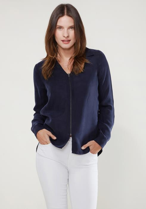 Ro&De Noir Zip Up Shirt Blouse