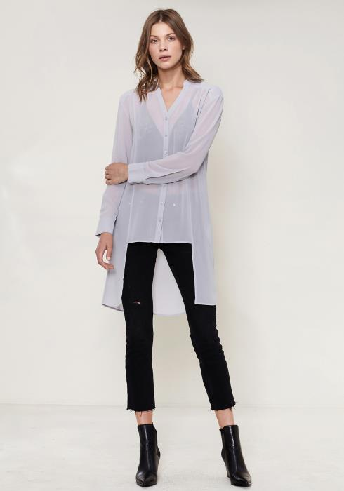 Ro&De Noir Sheer Hi-Lo Blouse
