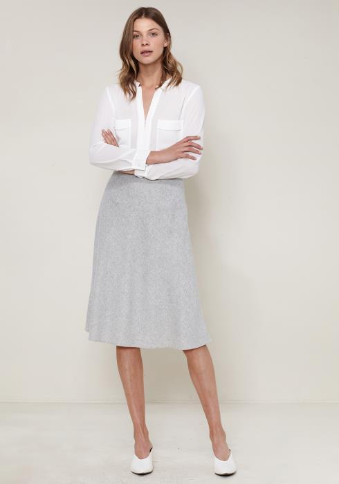 Ro&De Noir Flared Midi Wool Skirt
