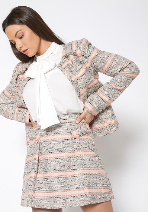 Ro & De Pink Striped Open Front Tweed Blazer