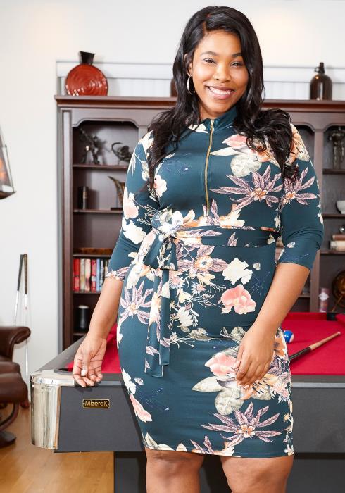 Asoph Plus Size Floral Mock Neck Tie Waist Dress