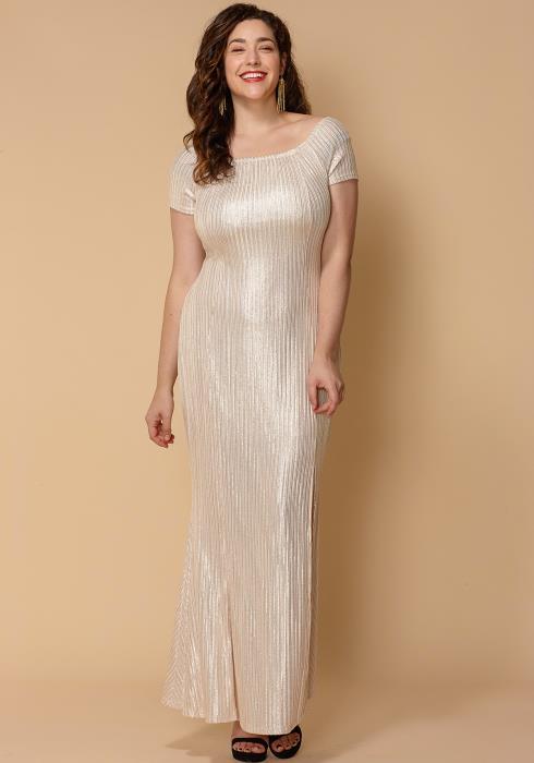 Asoph Plus Size Short Sleeve Metallic Champaign Maxi Dress