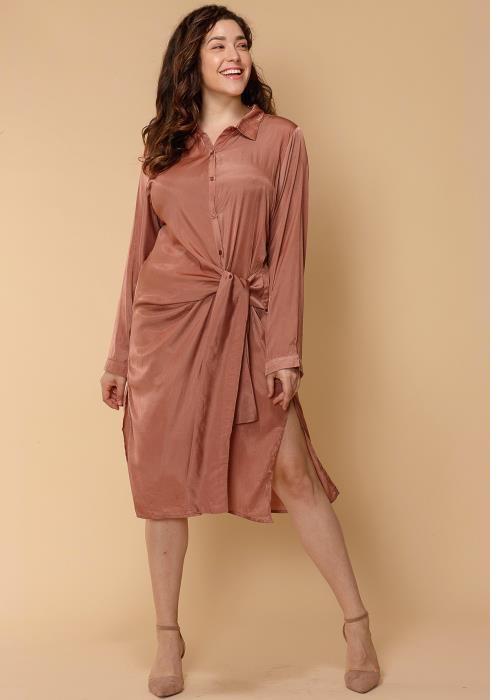 Asoph Plus Size Gather Front Button Up Shirt Dress