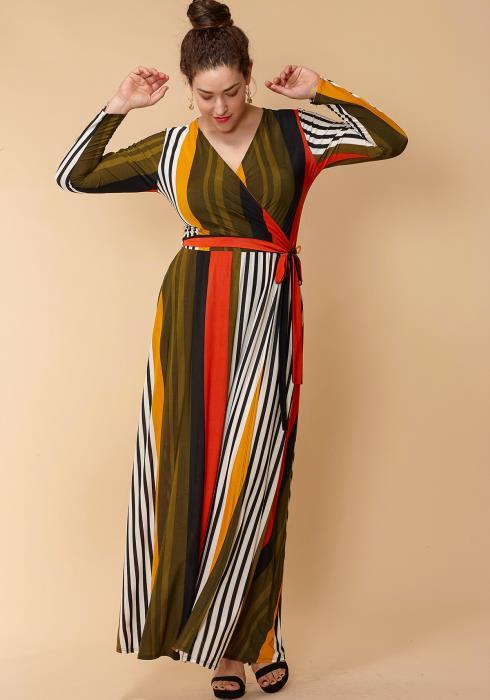 Asoph Plus Size Stipe Print Wrap Maxi Dress