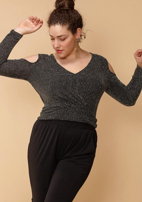 Asoph Plus Size Dazzling Open Shoulder Top