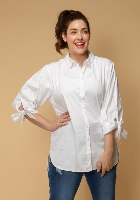 Asoph Plus Size Tie Cuff Button Up Shirt