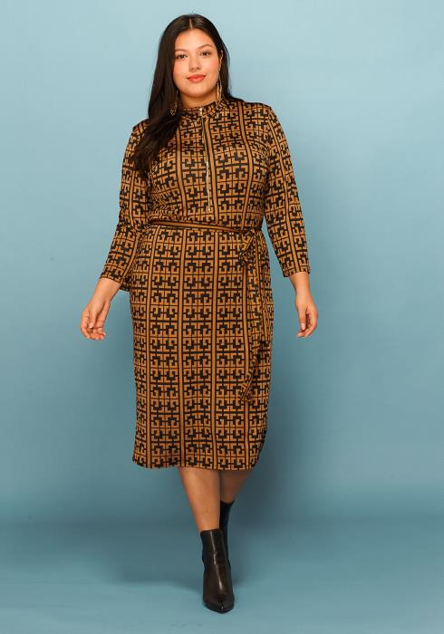Asoph Plus Size Geometic Print Zip Up Belted Dress