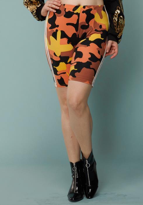 Asoph Plus Size Camo Print Double Stripe Taped Leggings Shorts