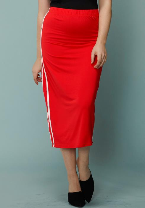 Asoph Plus Size Side Stripe Elasticized Midi Pencil Skirt