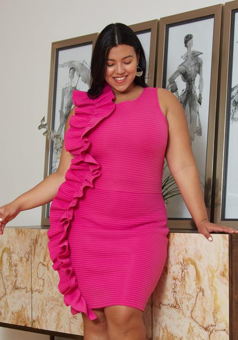 Asoph Plus Size Textured Dress With gathered Ruffle Side