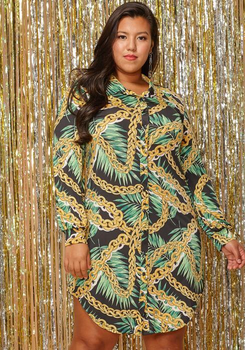Asoph Plus Size Plam Print Button Up Shirt Dress