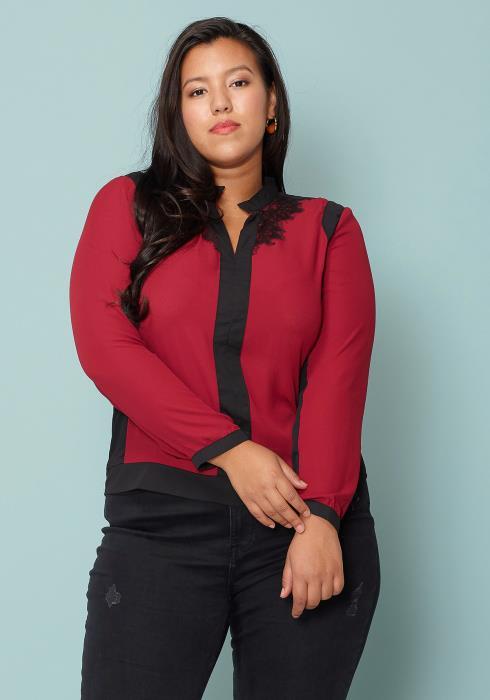Asoph Plus Size Lace Trim Long Sleeve Blouse