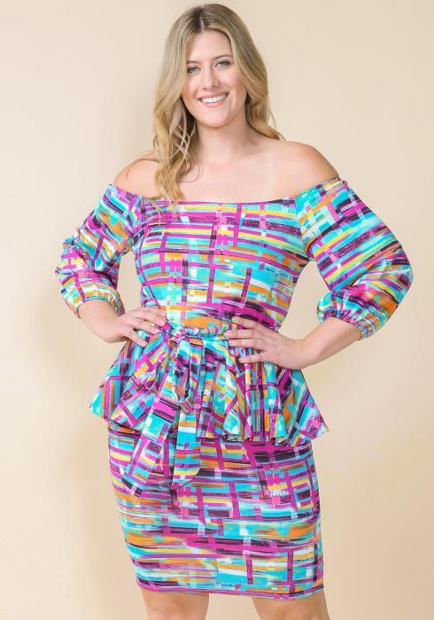 Asoph Plus Size Abstract Print Peplum Off Shoulder Dress
