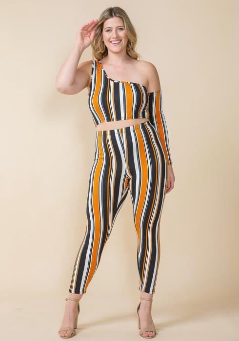 Asoph Plus Size One Shoulder Crop Top & Leggings Set