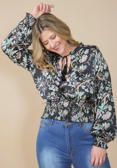 Asoph Plus Size Floral Print Smocked Waist Blouse