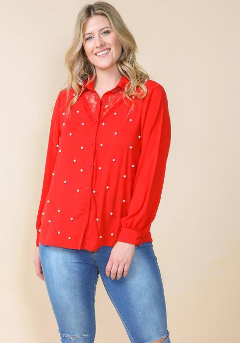 Asoph Plus Size Pearl Button Up Blouse