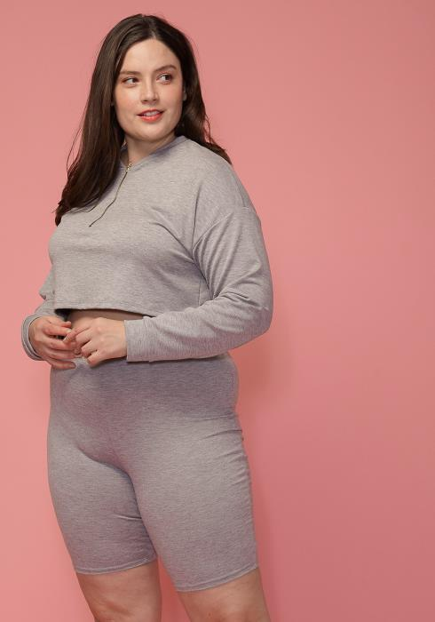 Asoph Plus Size Zip Front Crop Top & Shorts Set