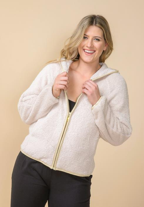 Asoph Plus Size Faux Fur Zip Up Hoodie