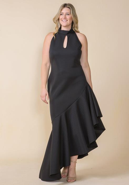 Asoph Plus Size Mock Neck Keyhole Front Asymmetrical Hem Dress