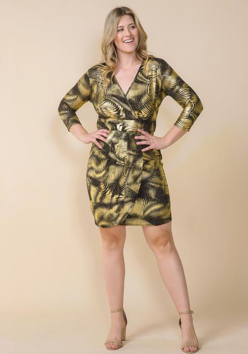 Asoph Plus Size Metallic Gold Leaf Print Dress