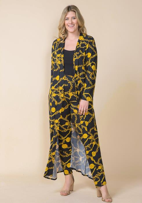 Asoph Plus Size Chain Print Cardigan Set