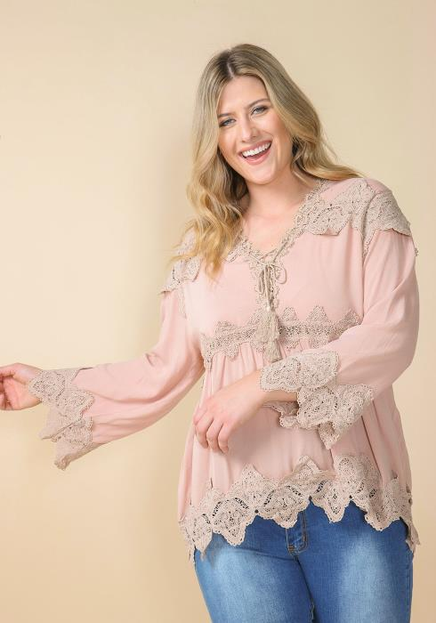 Asoph Plus Size Lace Trim Blouse