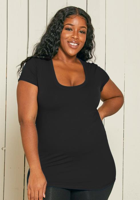Asoph Plus Size Basic Round Neck T-shirt