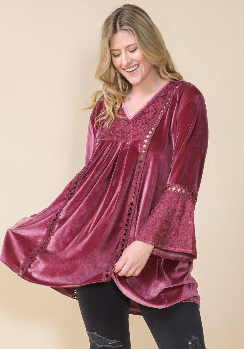 Asoph Plus Size Velvet Lace Trim Tunic Top