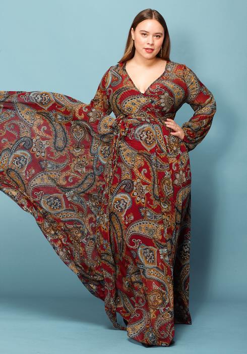 Asoph Plus Size Chain Print Wrap Maxi Dress