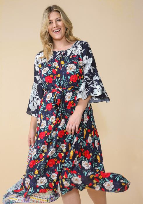 Asoph Plus Size Floral Print Tie Waist Dress