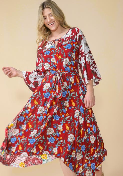 Asoph Plus Size Floral Print Tie Waist Dress