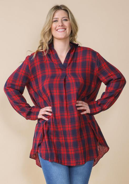 Asoph Plus Size Plaid Oversized Shirt