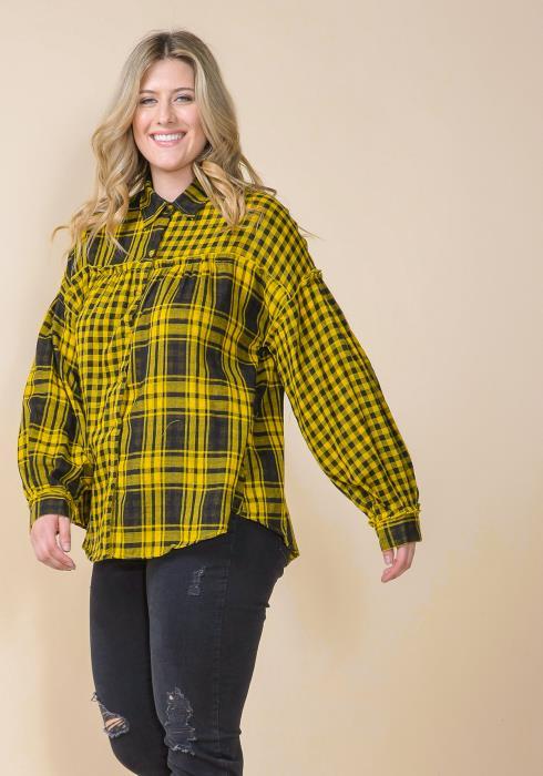 Asoph Plus Size Plaid Puff Sleeve Shirt Blouse