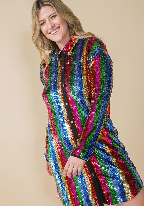 Asoph Plus Size Multi Sequined Colored Shirt Dress