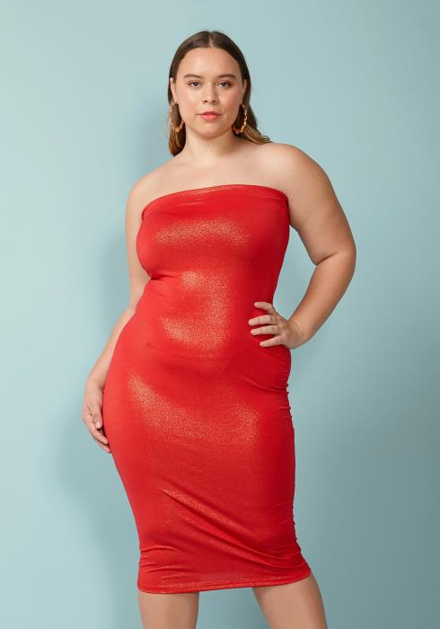 Asoph Plus Size Tube Top Bodycon Dress
