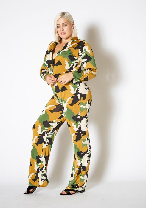 Asoph Plus Size Camo Print Button Up Jumpsuit