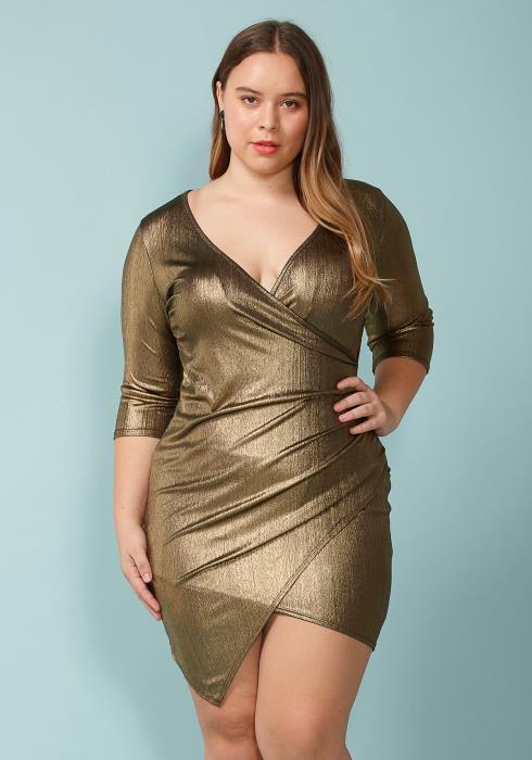 Asoph Plus Size Its So Me Gold Mini Dress