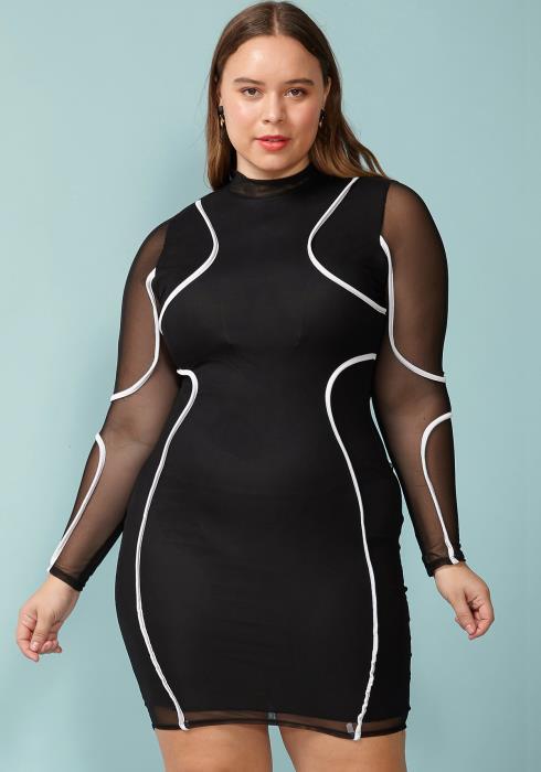 Asoph Plus Size Mesh Midi Bodycon Dress