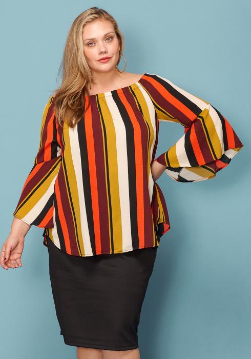 Asoph Plus Size Off Shoulder Multi-color Stripe Top