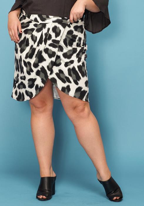 Asoph Plus Size Animal Print Wrap Mini Skirt