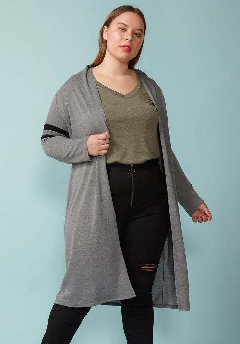 be5cde9cd5070 Asoph Plus Size Long Sleeve Cardigan