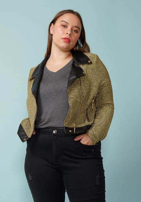 Asoph Plus Size Shiny Fauc LEather Contrast Biker Jacket