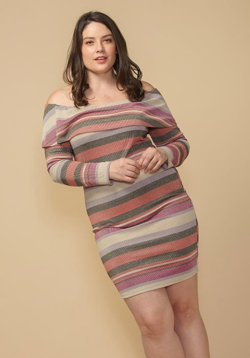Asoph Plus Size Off Shoulder Stripe Knit Dress