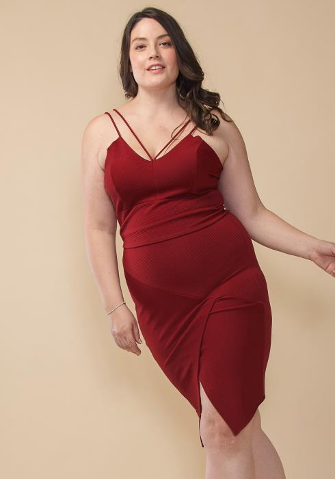 Asoph Plus Size Strappy Front Top & Skirt Set