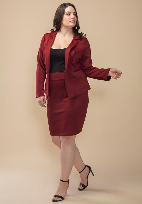 Asoph Plus Size Open Front Blazer & Pencil Skirt Set