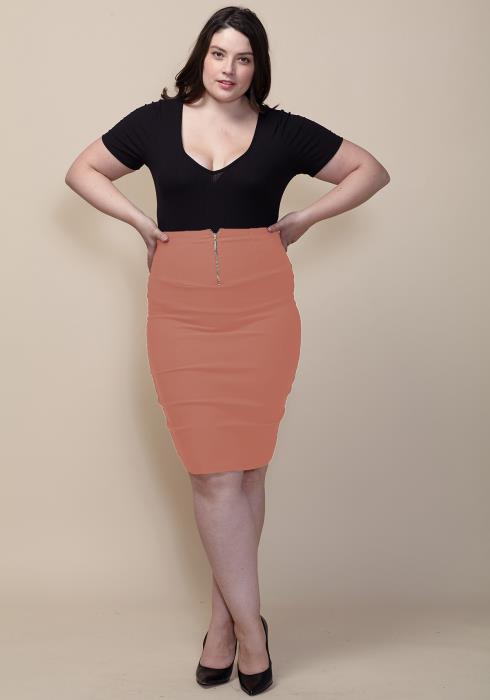 Asoph Plus Size Zipper Front Pencil Midi Skirt