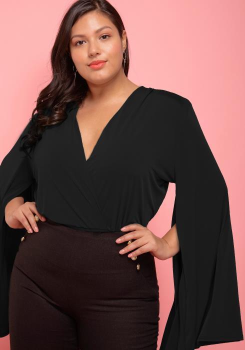 Asoph Plus Size Slit Sleeve Wrap Bodysuit