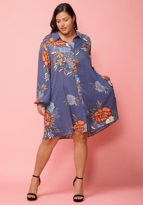 Asoph Plus Size Floral Button Up Shirt Dress