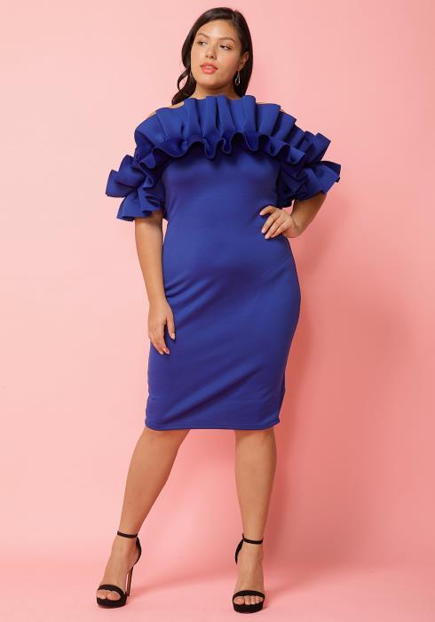 Asoph Plus Size Gathered Shoulder Cocktail Dress